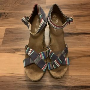 Toms multicolored wedge sandals size 11